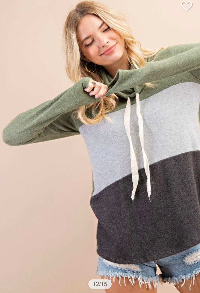 Fleece Color Block Hoodie