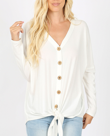 Tie Front Long Sleeve- Ivory