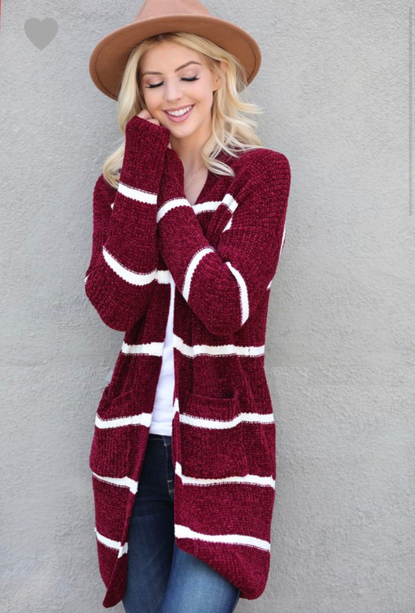 Stripped Velvet Knit Cardigan