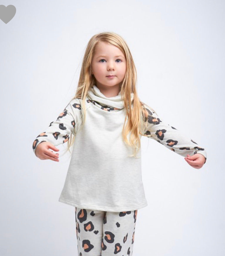 Cowl-Neck Leopard Top- Kid
