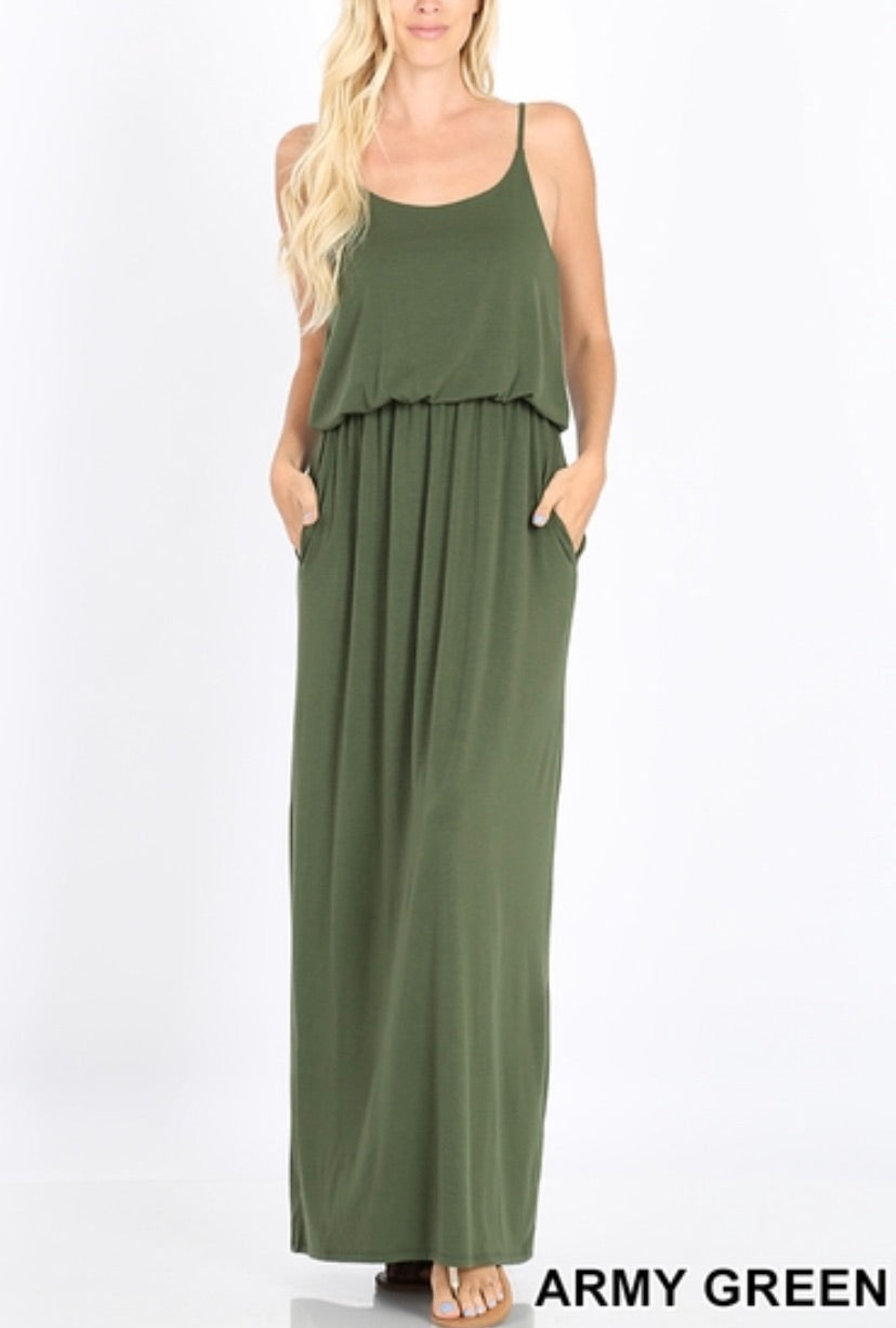 Layered Maxi - Army Green