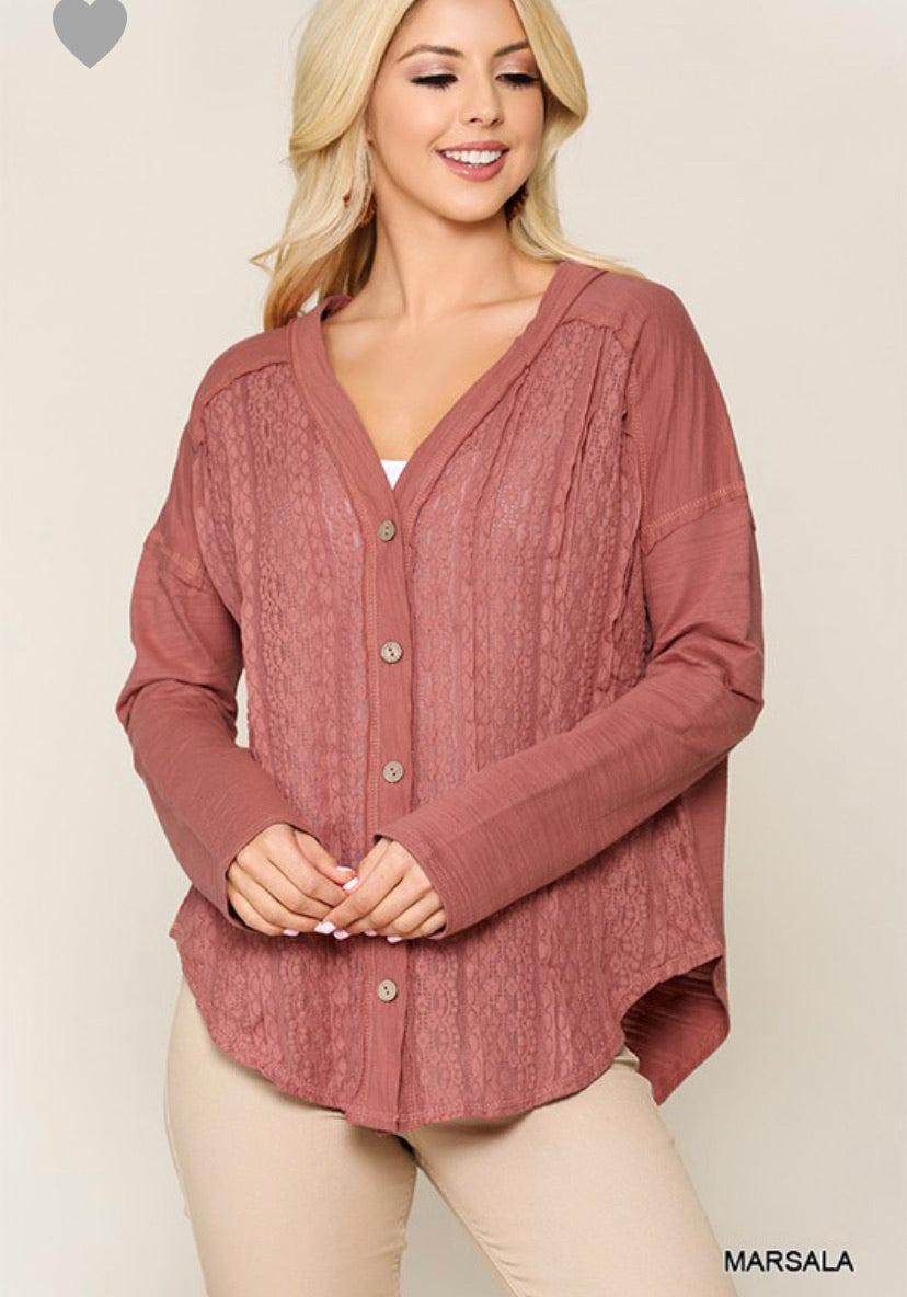 Button Up Top- Marsala