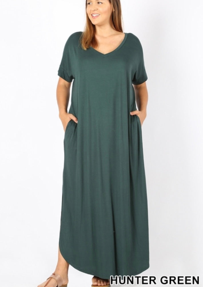 Side Slit V-Neck Maxi- Plus