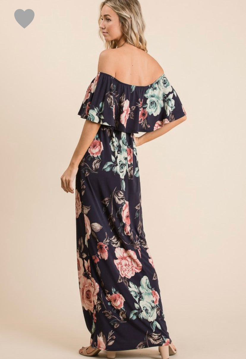 Off The Shoulder Floral Maxi