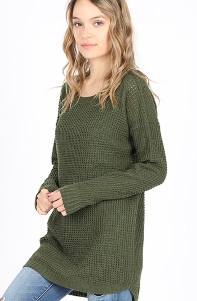 Waffle Sweater- Army Green
