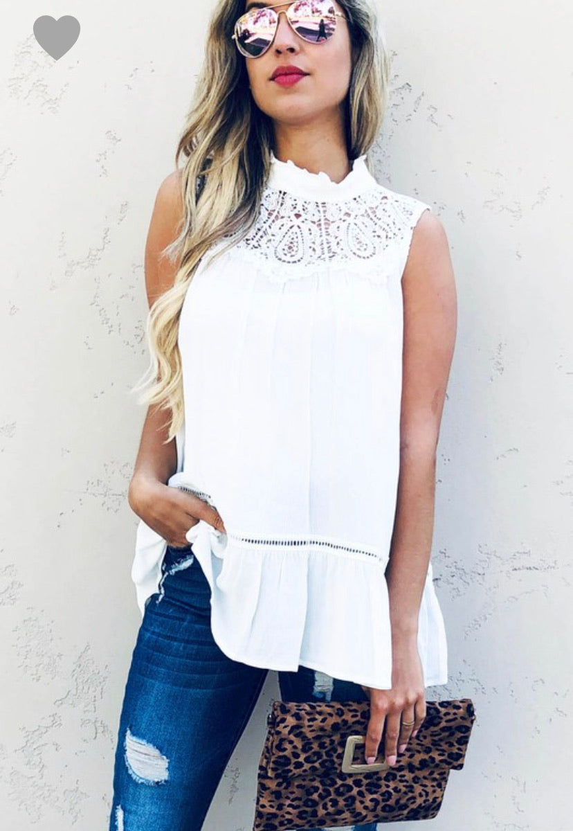 Lace Trim Sleeveless Tunic