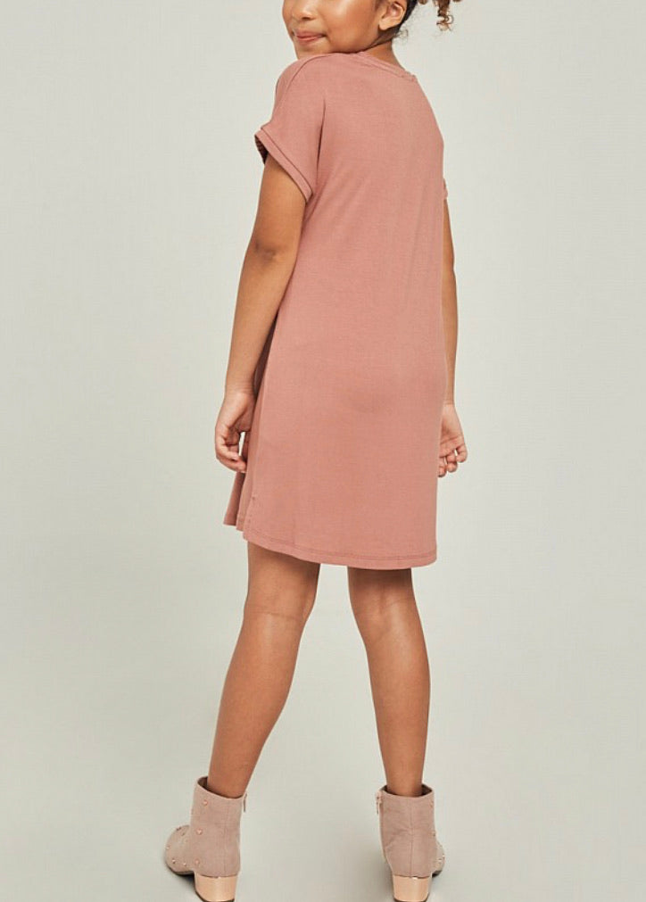 Girls- Mauve T Shirt Dress