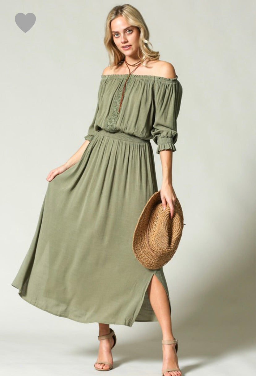 Off The Shoulder Olive Maxi