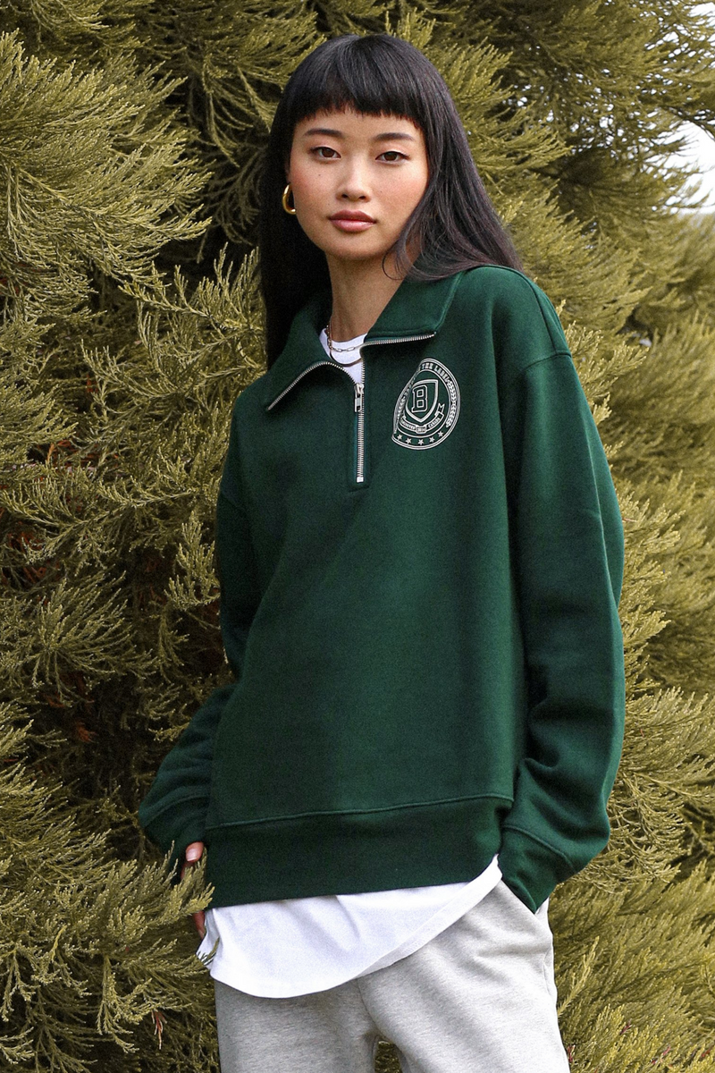 Varsity Crest Half-Zip | Evergreen