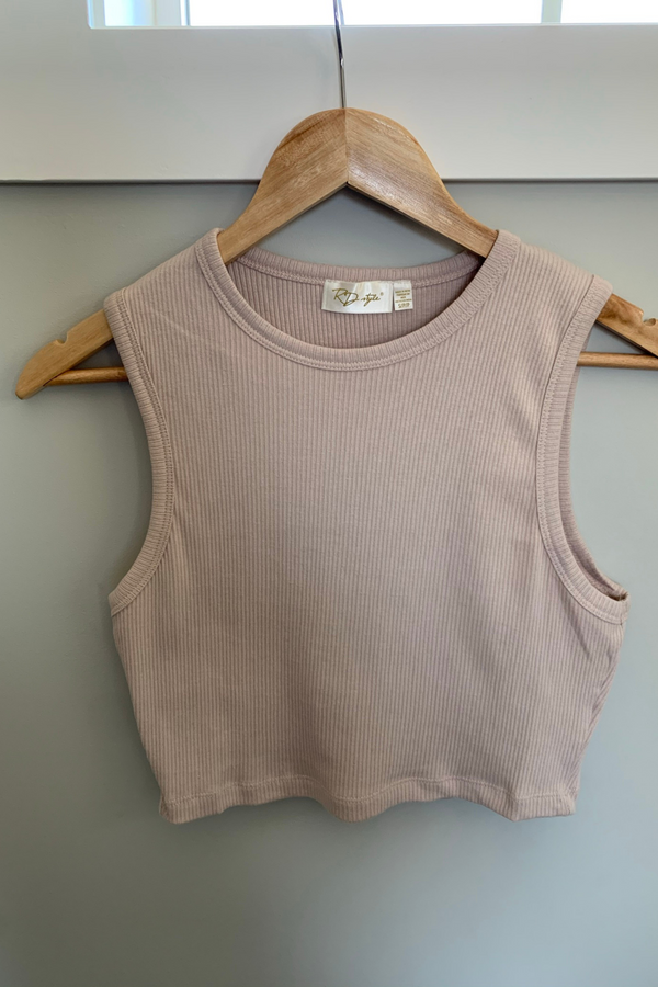 Ribbed Cropped Tank - Rose Taupe