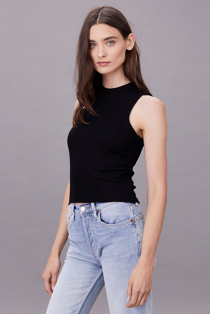 Ribbed Double Layer Sleeveless | Black
