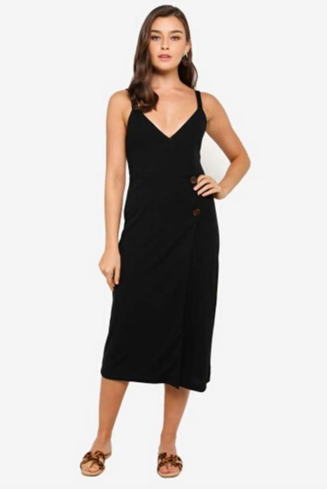 Side Button Midi Dress | Black