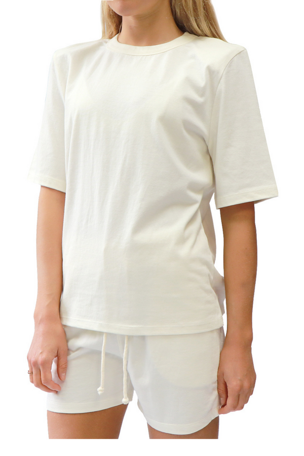 White Padded Shoulder T-Shirt