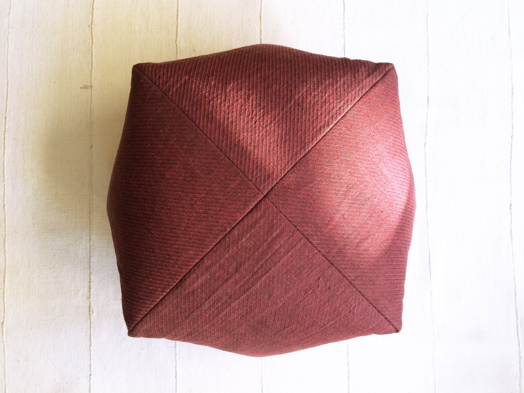Garnet and Chocolate Herringbone Dumpling Cushion