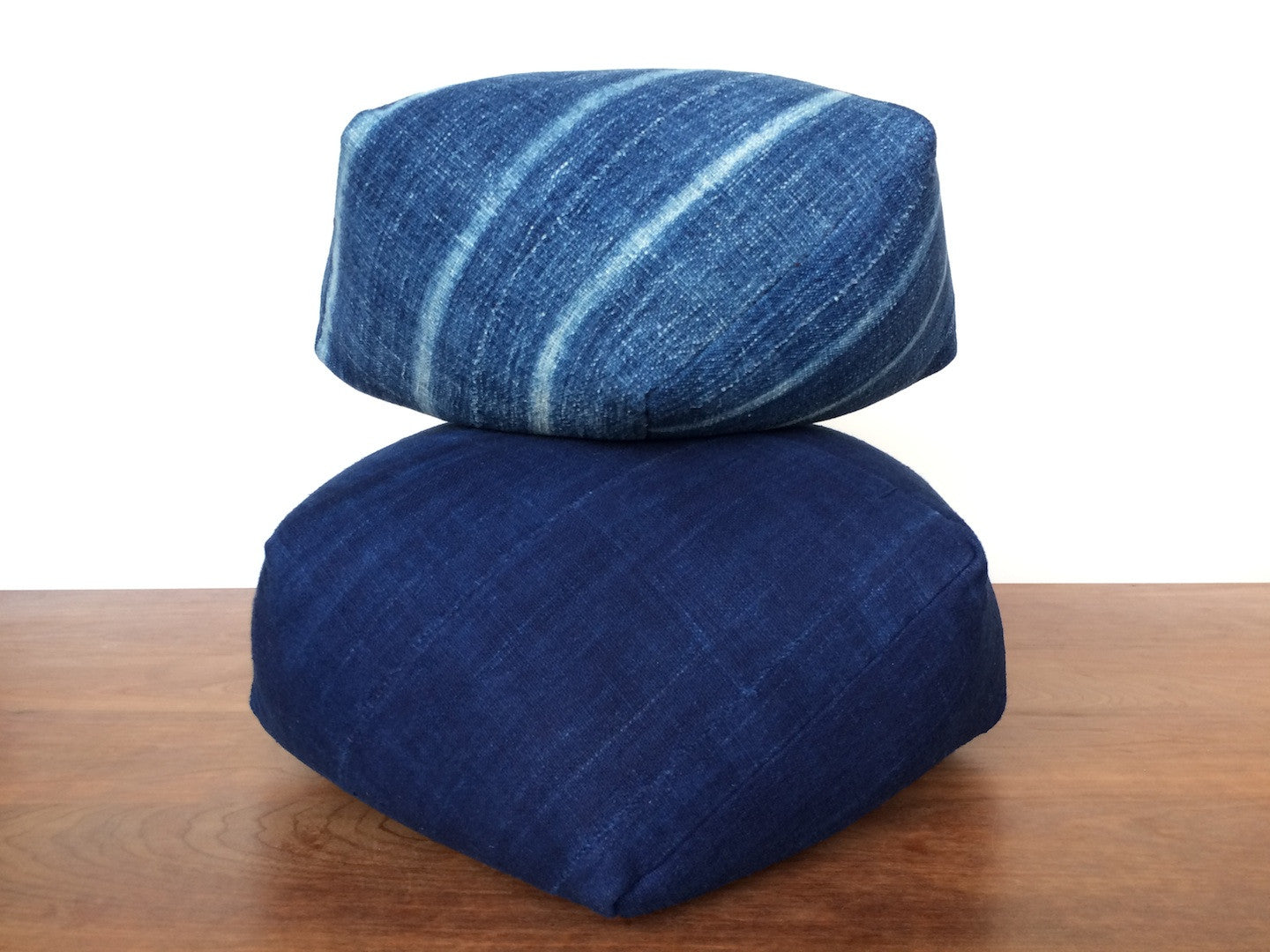 Dumpling Cushion, indigo stripe, small