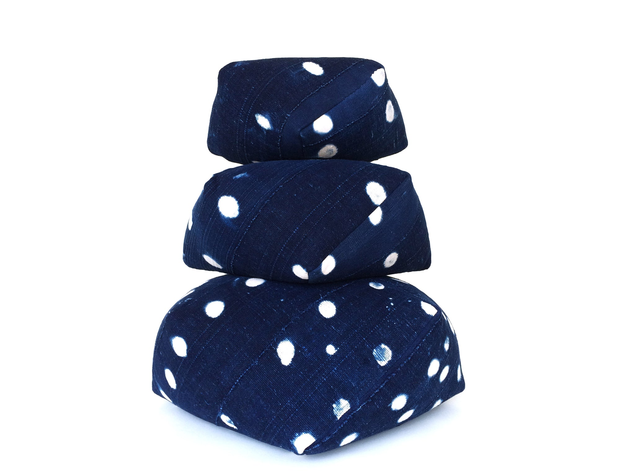 DUMPLING CUSHIONS, indigo dots, set of three
