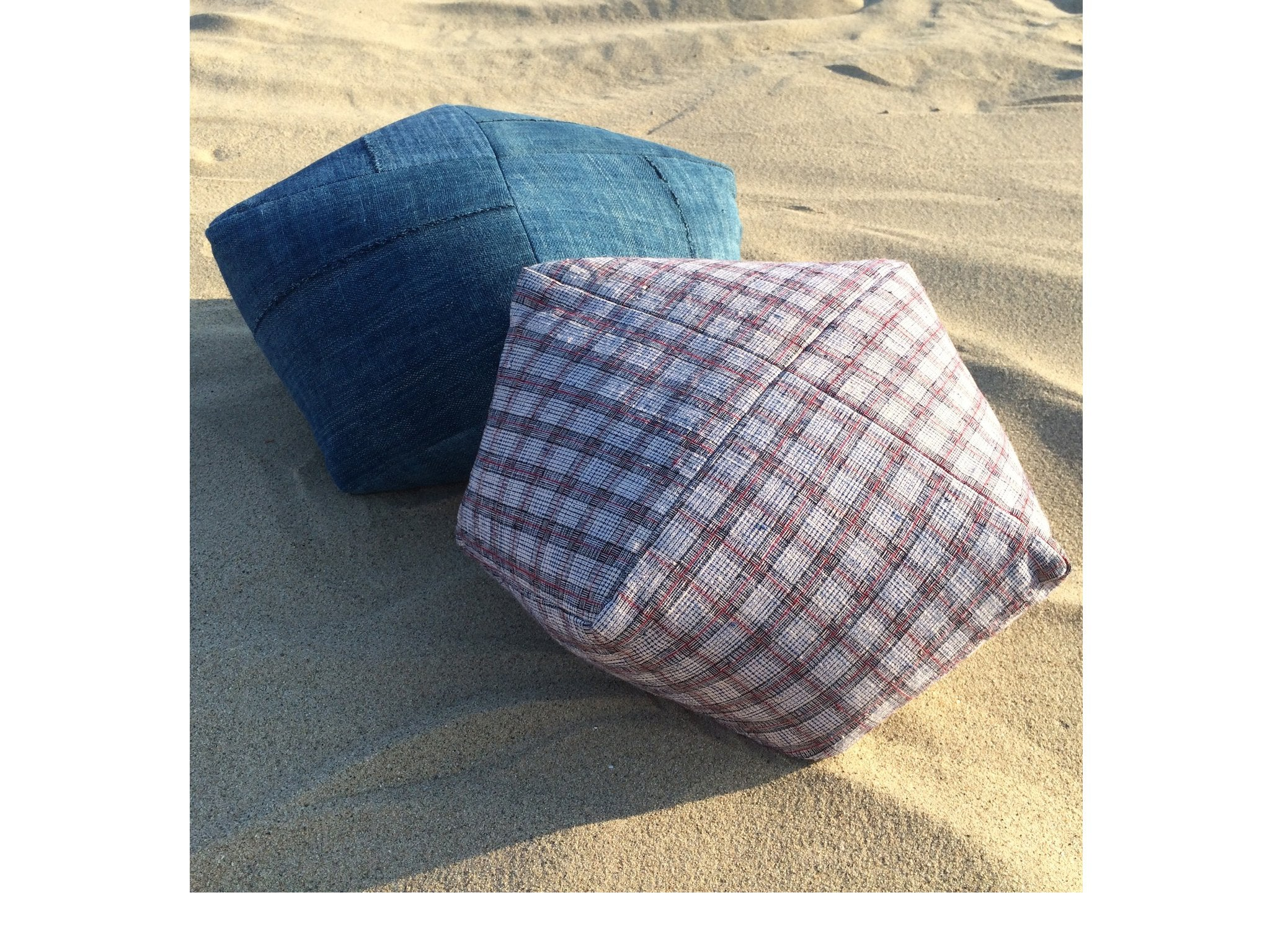 DUMPLING CUSHION in handloom plaid, sm.