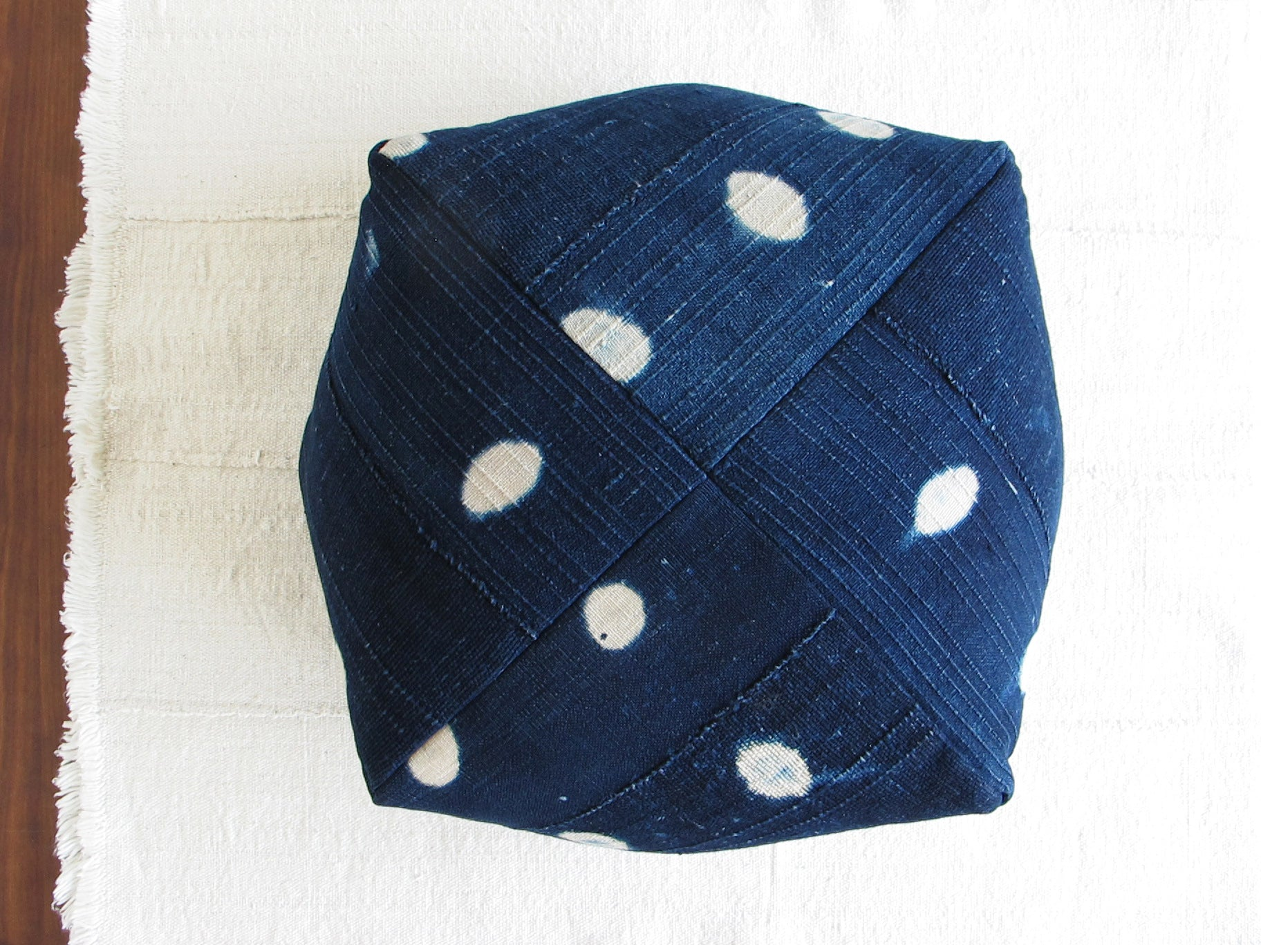 DUMPLING CUSHION in indigo dots, large