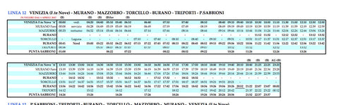 Water Bus Timetable