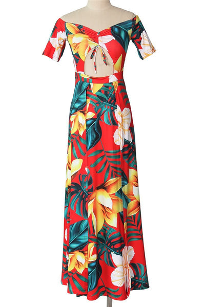 Floral Printed Hollow Out Split Dress