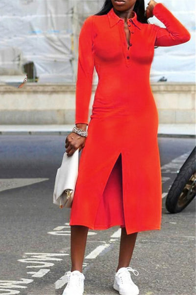 Solid Color Split Midi Dress