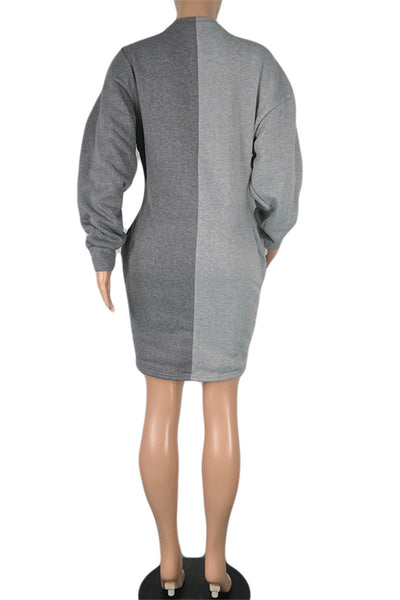 Color Splicing Bandage Hoodie Dress