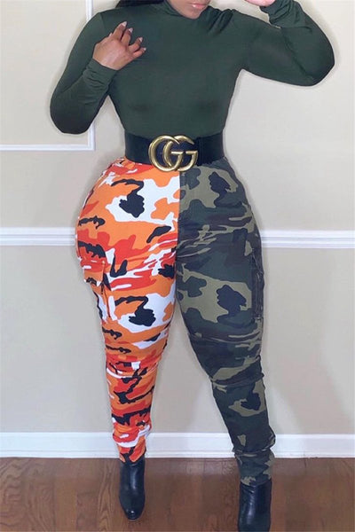 Color Splicing Camo Printed Pants