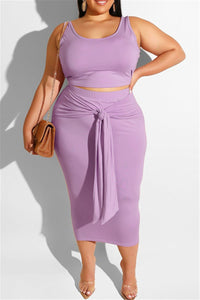 Plus Size XL-5XL Sleeveless Top with Bandage Maxi Skirt Sets