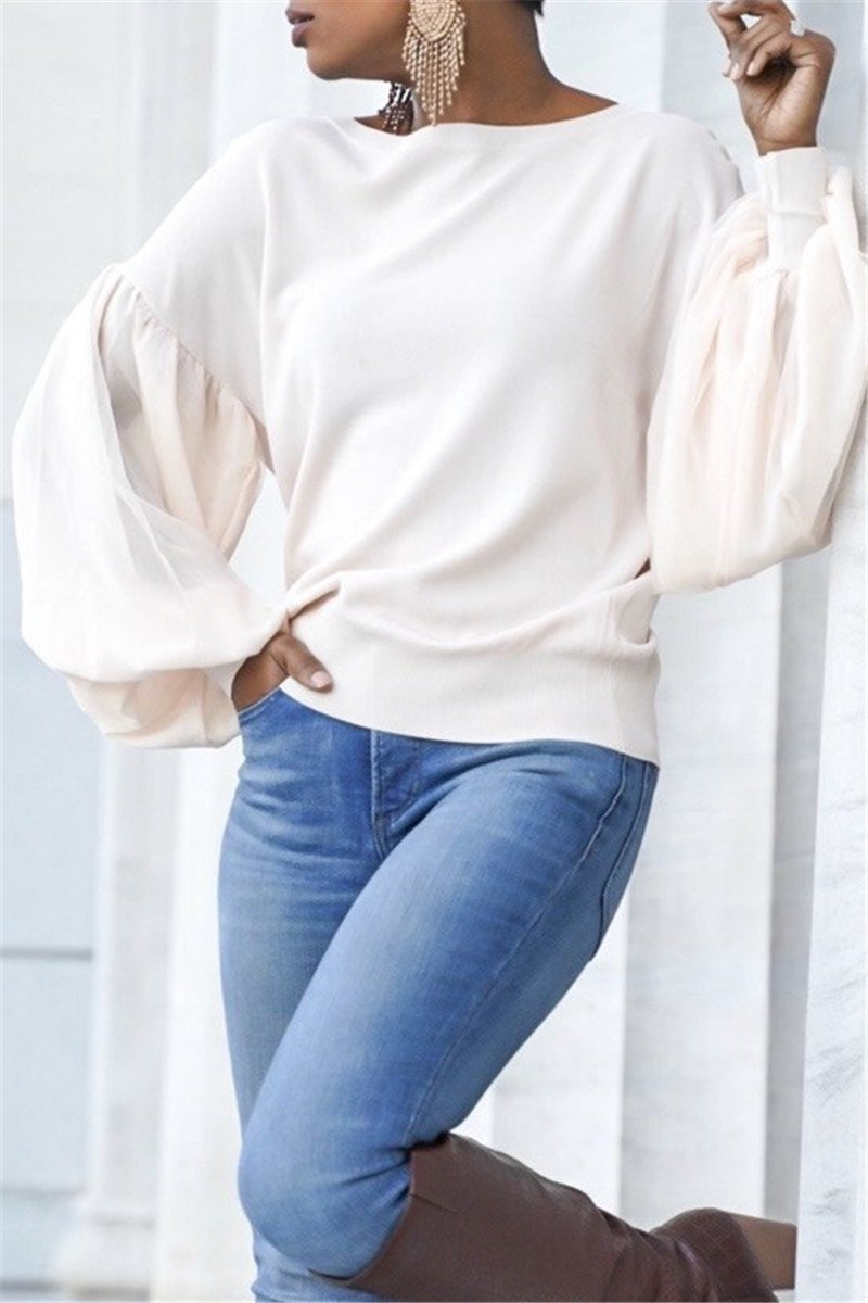 Chiffon Puff Sleeve Splicing Top