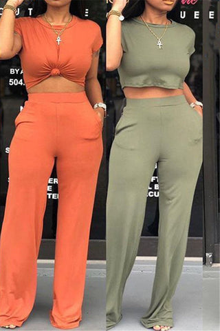 Solid Color Wide Leg Two PC Sets