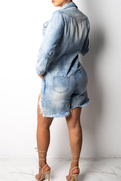 Distressed Pocket Denim Jumpsuit - Cuivy