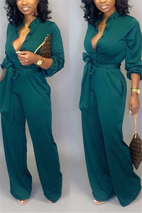 Casual Solid Color Jumpsuit With Belt