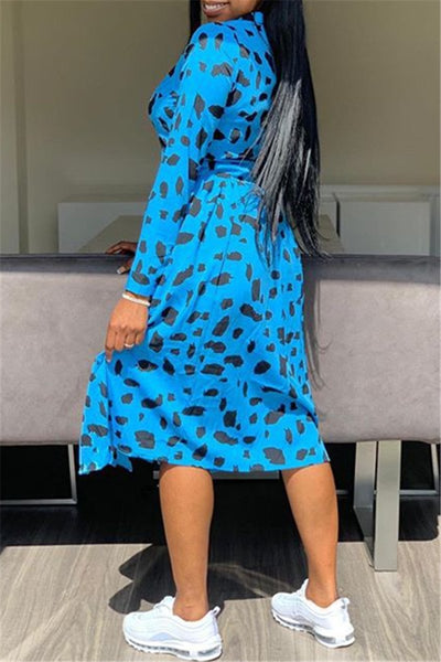 Printed Split Shirt Dress