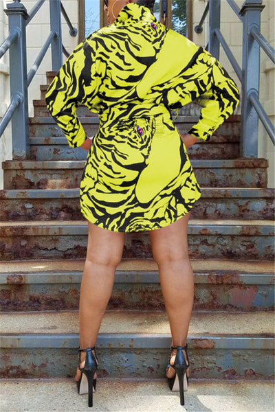 Tiger Head Printed Shirt Dress