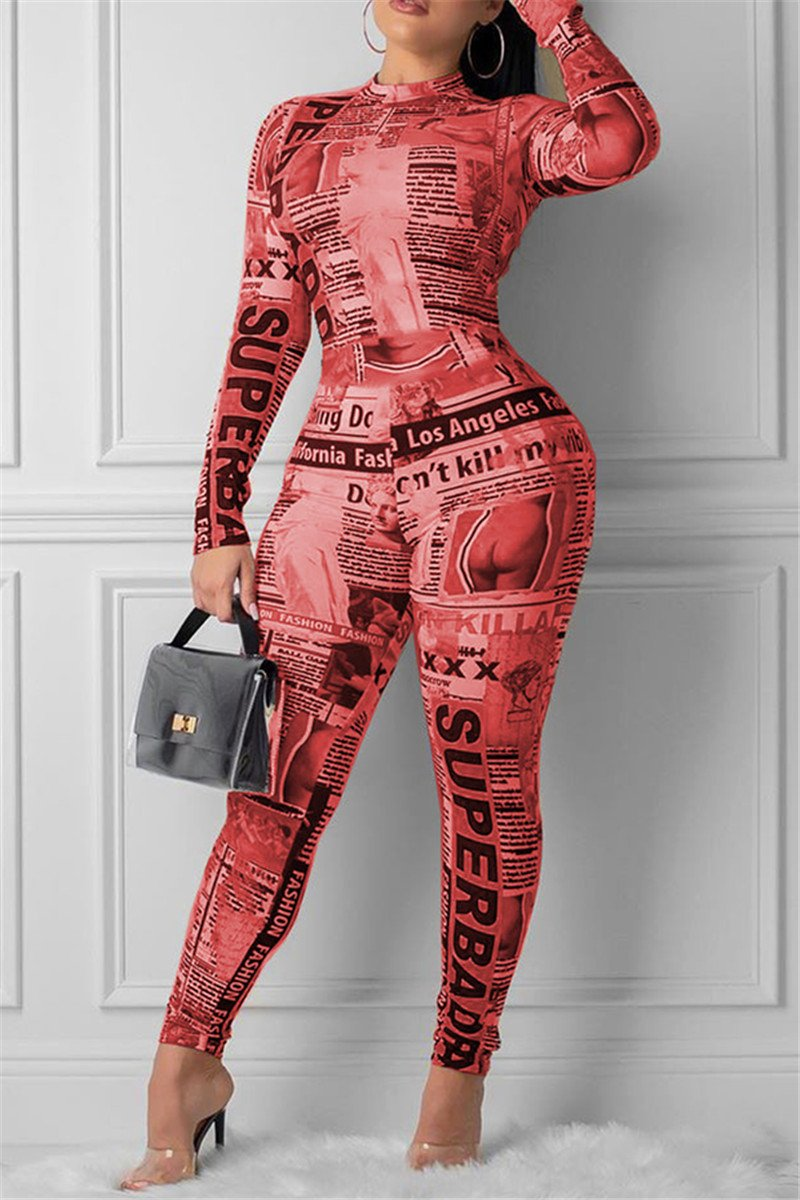 Newspaper Printed Zipper Jumpsuit