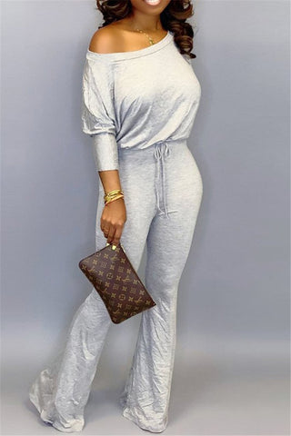 Solid Color Batsleeve Jumpsuit