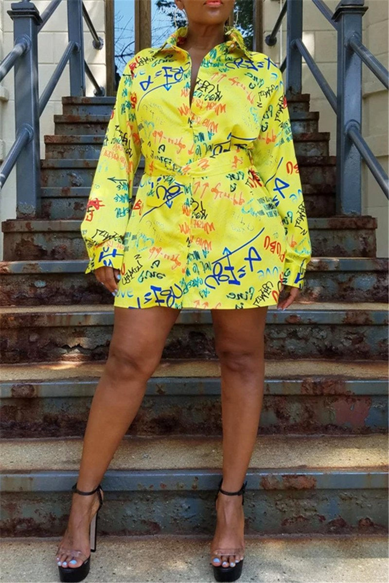 Casual Printed Shirt Dress