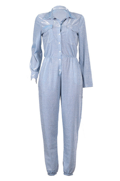 Casual Shining Jumpsuit With Pockets