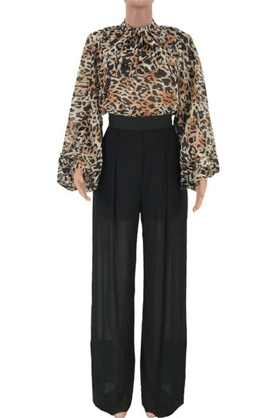 Leopard Printed Net Yarn Splicing Jumpsuit