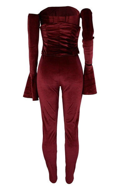 Velvet Jumpsuit With Bandage Belt