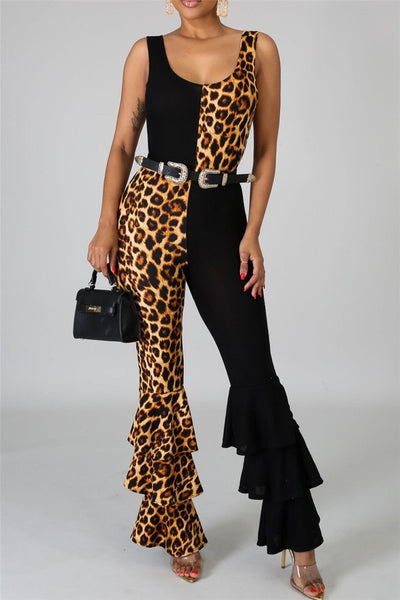 Color Splicing Leopard Printed Jumpsuit