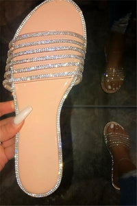 Rhinestone Open Toe Beach Slippers