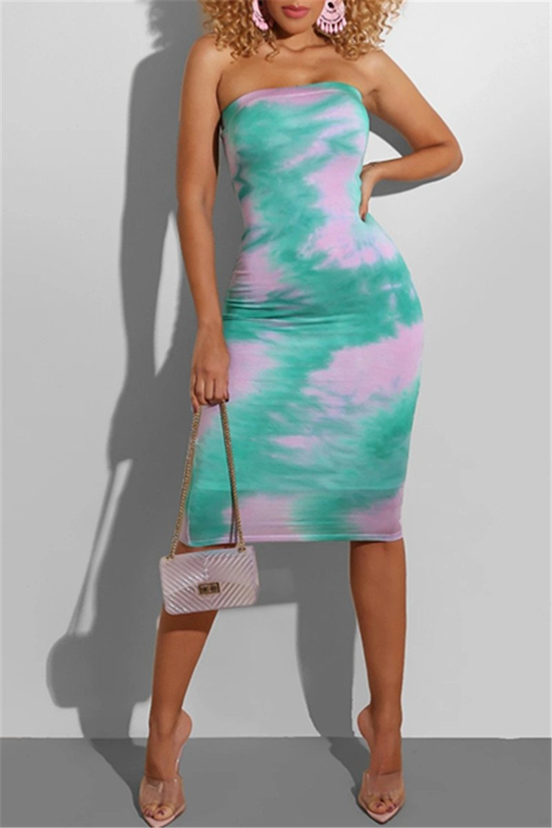 Tie Dye Bodycon Tube Dress