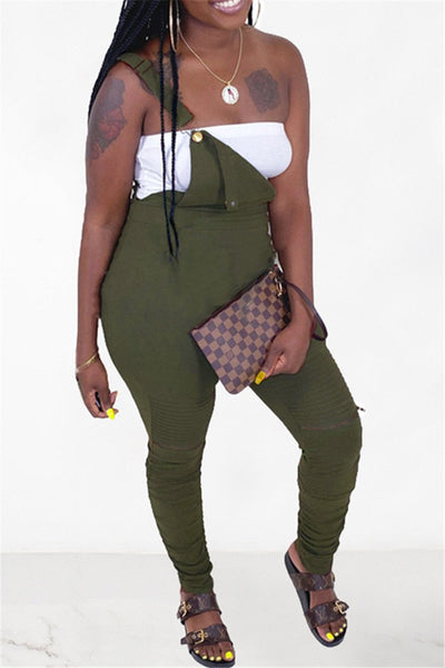 Solid Color Zipper Ruched Overall