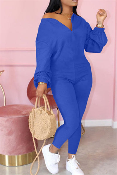 Puff Sleeve Sloping Shoulder Zipper Jumpsuit