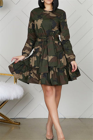 Camo Printed Pleated Dress