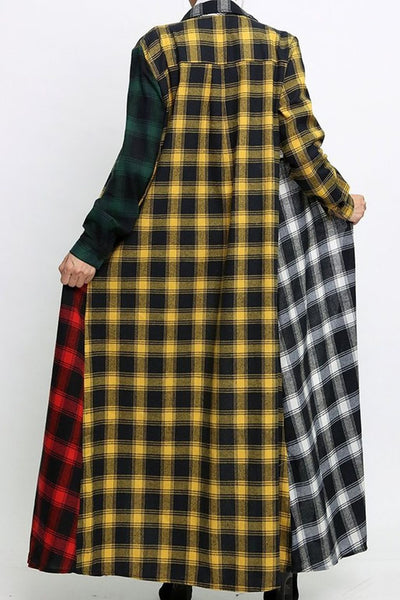 Color Splicing Hooded Maxi Dress