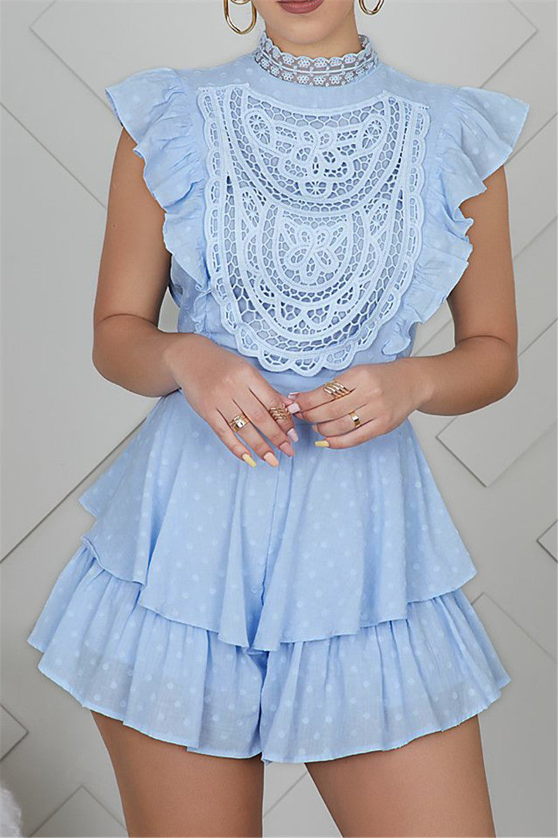 Size XXL Cotton Ruffle Lace Splicing Romper