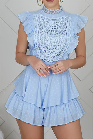 Cotton Ruffle Lace Splicing Romper