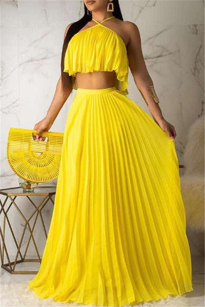 Solid Color Pleated Chiffon Sets